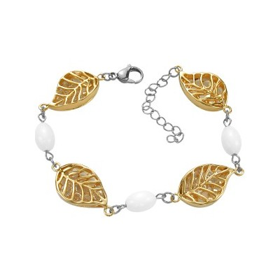 Stainless Steel Two Tone Leaf White Bracelet