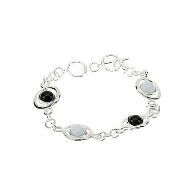 Genuine Sterling Silver Onyx & White Agate Bracelet