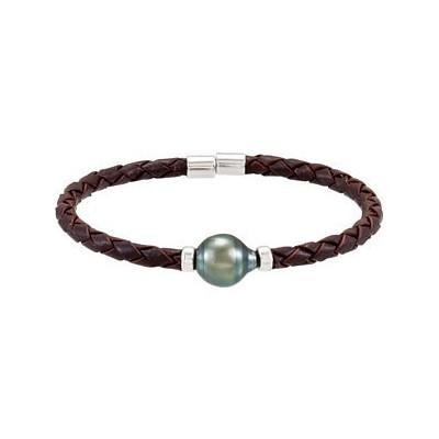 Genuine Sterling Silver & Rope Tahitian Black Pearl Bracelet