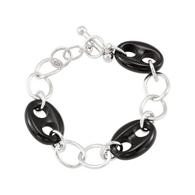 Genuine Sterling Silver Onyx Marine Link Bracelet