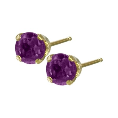 Genuine 0.20tcw 3mm Amethyst 14 Karat Yellow Gold Baby Earrings