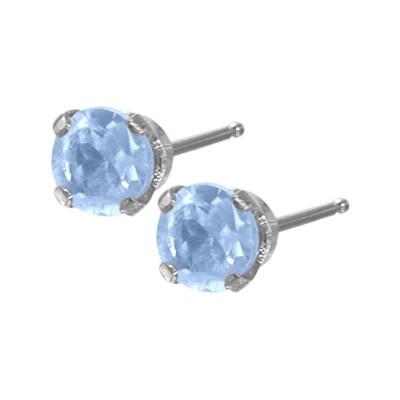 Genuine 0.18tcw 3mm Aquamarine 14 Karat White Gold Baby Earrings