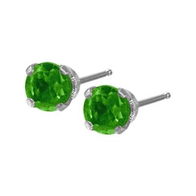 Genuine 0.25tcw 3mm Emerald 14 Karat White Gold Baby Earrings