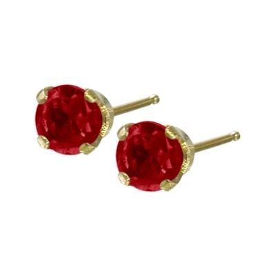 Genuine 0.30tcw 3mm Ruby 14 Karat Yellow Gold Baby Earrings