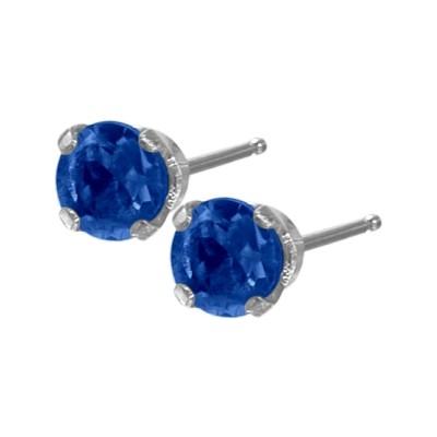 Genuine 0.30tcw 3mm Sapphire 14 Karat White Gold Baby Earrings