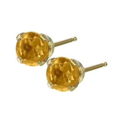 Genuine 0.20tcw 3mm Citrine 14 Karat Yellow Gold Baby Earrings