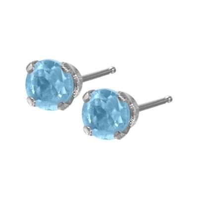Genuine 0.30tcw 3mm Blue Topaz 14 Karat White Gold Baby Earrings