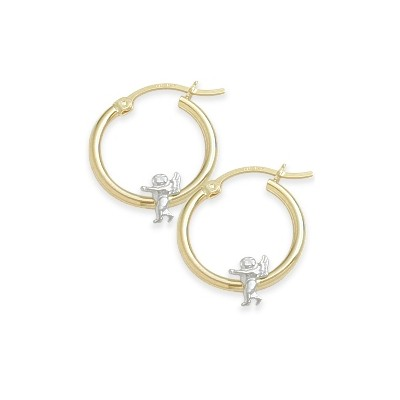 Two-Toned Angel Baby Gold Earrings