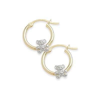 Two-Toned Teddy Bear Baby Gold Earrings