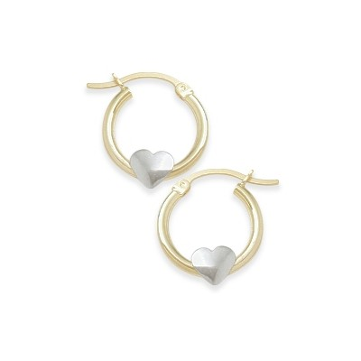 Two-Toned Heart Baby Gold Earrings