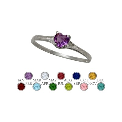 Genuine Sterling Silver Genuine Amethyst Heart Shape Gem Baby Ring