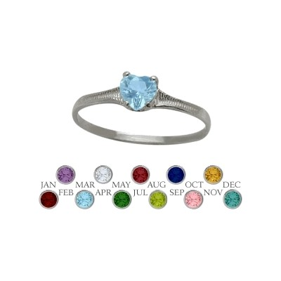 Genuine Sterling Silver Genuine Blue Topaz Heart Shape Gem Baby Ring