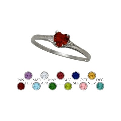 Genuine Sterling Silver Genuine Garnet Heart Shape Gem Baby Ring