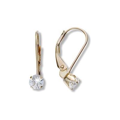 April 10 Karat Yellow Gold Genuine 0.60tcw. 4mm White Topaz Zirconia Leverback Gem Earrings
