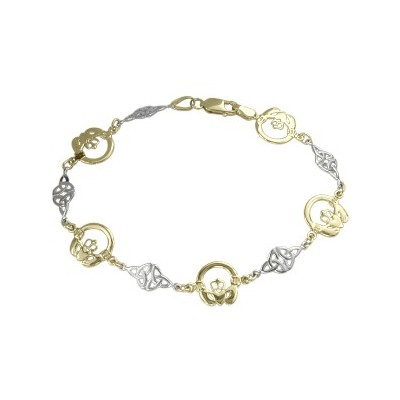 10 Karat Two-Tone Claddagh Bracelet