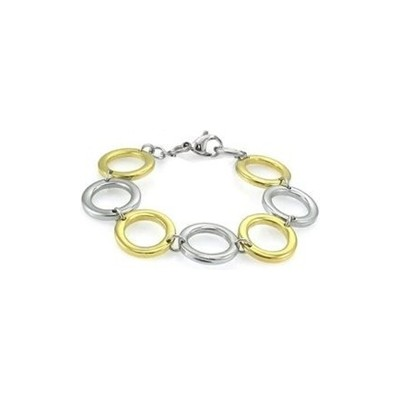 Stainless Steel Circle Style Two-Tone Bracelet