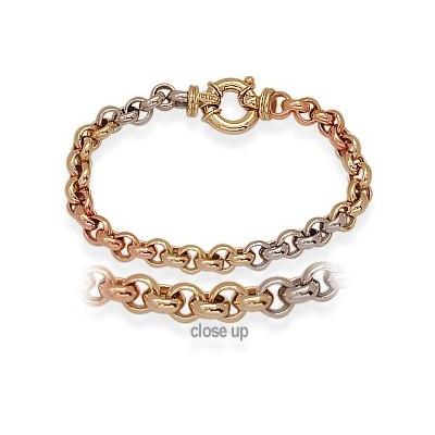 Ladies Designer Tri-Color Heavy Toggle Rolo Bracelet