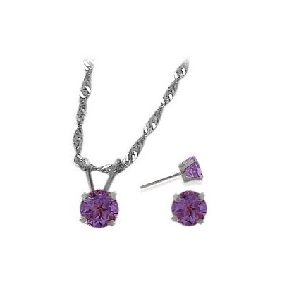 14K White Gold Genuine 1.35tcw. Amethyst Solitaire Pendant and Earrings Set