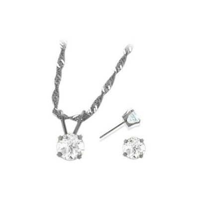 14K White Gold Genuine 1.65tcw.  White Topaz Solitaire Pendant and Earrings Set