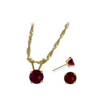 14K Yellow Gold Genuine 1.71tcw. Rhodolite Solitaire Pendant and Earrings Set