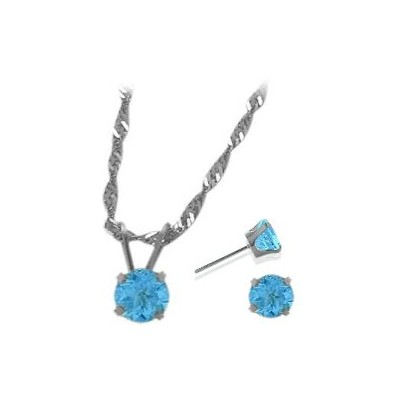 14K White Gold Genuine 1.65tcw. Blue Topaz Solitaire Pendant and Earrings Set