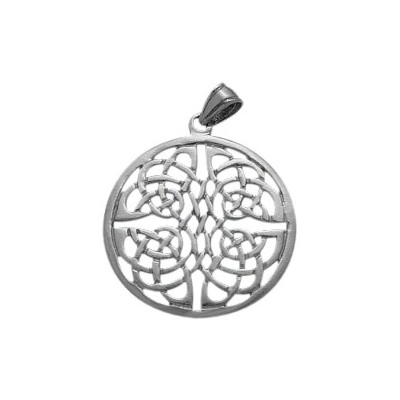 Large Fancy Sterling Silver Celtic Knot Pendant with chain