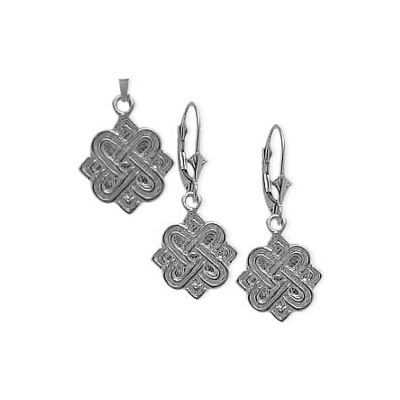 10 Karat White Gold Celtic 4 Point Knot Earrings & Pendant Set with chain