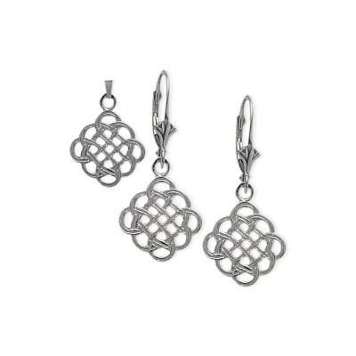 10 Karat White Gold Celtic Earrings & Pendant Set with chain