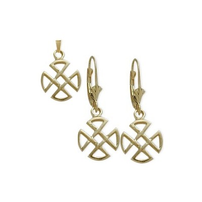 10 Karat Yellow Gold Celtic 4 Trinity Earrings & Pendant Set with chain