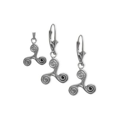 10 Karat White Gold Celtic Triskele Earrings & Pendant Set with chain