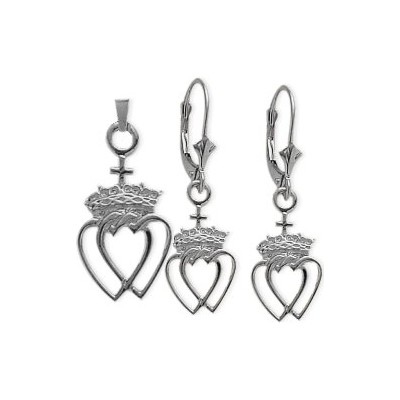 10 Karat White Gold Celtic Crowned Heart Earrings & Pendant Set with chain