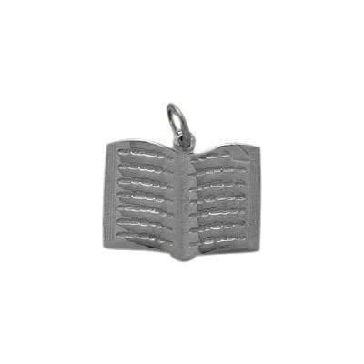 10 Karat White Gold Holy Book Jewish Pendant