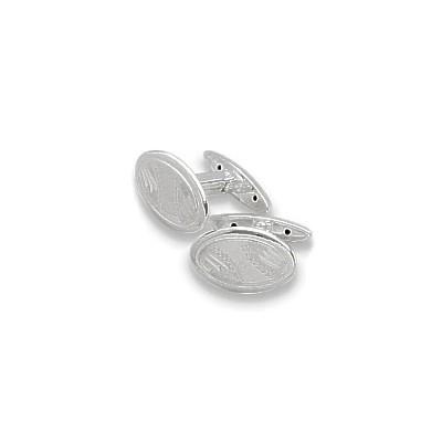 Men's Sterling Silver Oval Cufflinks