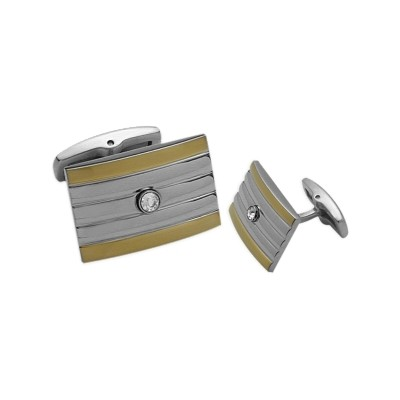 Men's Stainless Steel & Gold Plated Cufflinks
