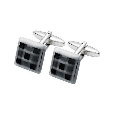 Men's Black Onyx & Fibre Optic Glass Cufflinks