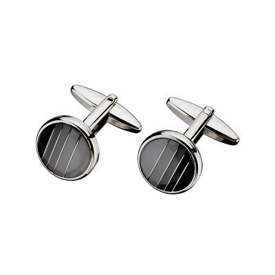 Men's Steel Grey & Black Enamel Cufflinks