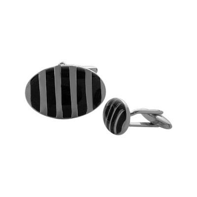 Men's Black Enamel & Steel Cufflinks