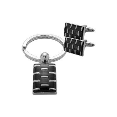 Men's Steel Rectangular Cufflinks & Key Chain  Set
