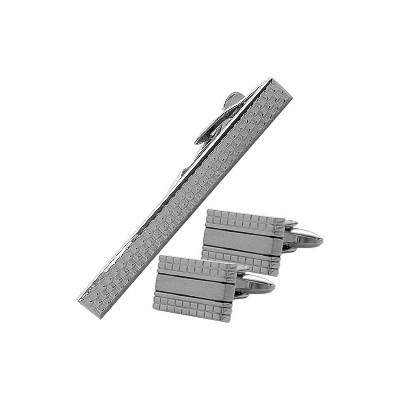 Men's Steel Cufflinks & Tie Pin Set