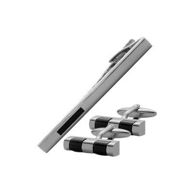 Men's Steel & Black Onyx Cufflinks & Tie Pin  Set