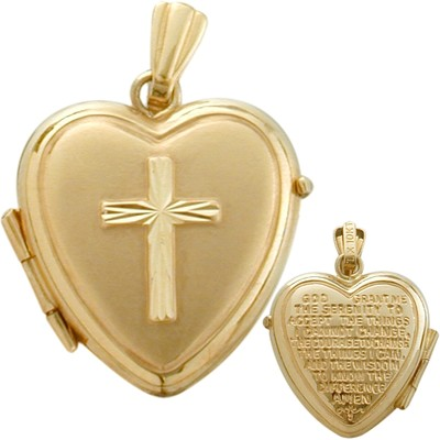 Ladies Yellow Gold Heart Religious Cross Locket with Prayer with 18 Inch Chain