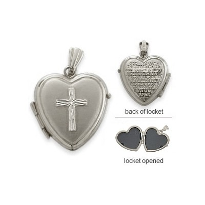 Ladies White Gold Heart Religious Cross Locket with Prayer with 18 Inch Chain
