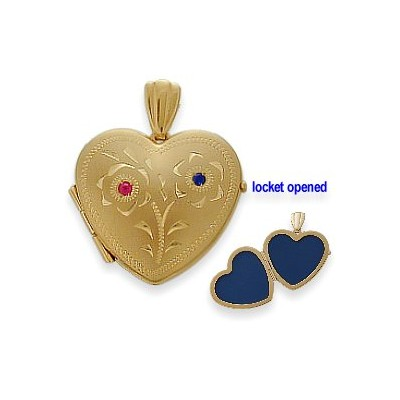 10 Karat Yellow Gold Ruby & Sapphire Heart Locket with Design with 18 Inch Chain