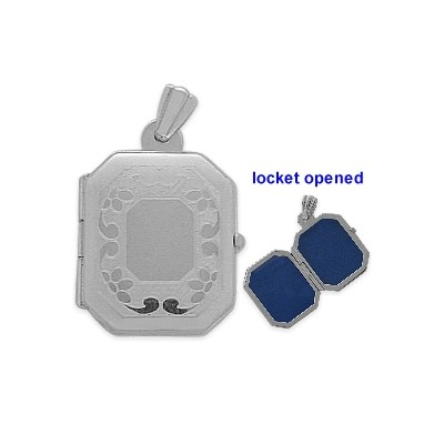 Sterling Silver Square Shaped Locket with Diamond Cut Pattern with Chain
