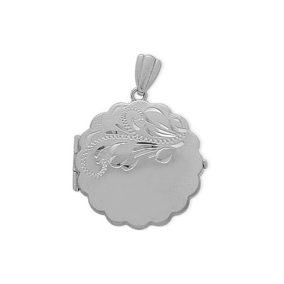 Sterling Silver Circle Shaped Locket with Diamond Cut Pattern with Chain