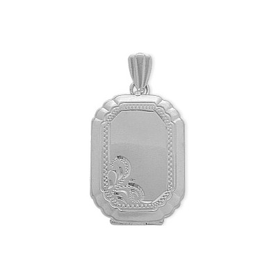 Sterling Silver Rectangle Shaped Locket with Diamond Cut Pattern with Chain