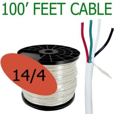 14 Gauge 4 Conductor 100 ft Oxygen Free In Wall Speaker Wire FT4 / UL Rated (14/4)