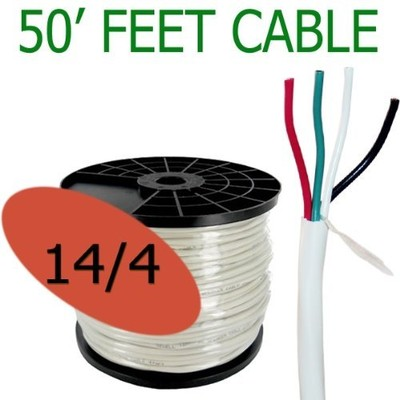 14 Gauge 4 Conductor 50 ft Oxygen Free In Wall Speaker Wire FT4 / UL Rated (14/4)