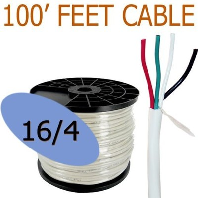 16 Gauge 4 Conductor 100 ft Oxygen Free In Wall Speaker Wire FT4 / UL Rated (16/4)