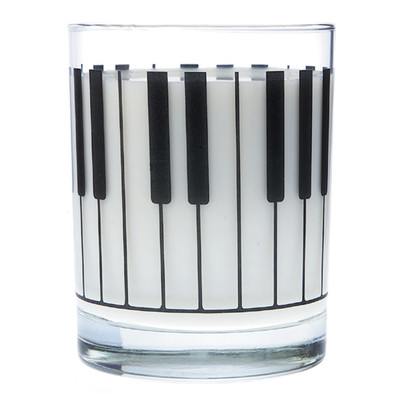 Music Themed Glass Tumbler - Large Keyboard - Aim - 2204
